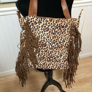 Handbags - Leopard tassel tote bag